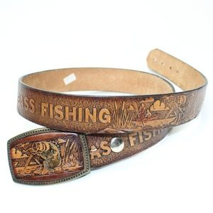 Vintage Bass Fishing Leather Tooled Belt / Buckle